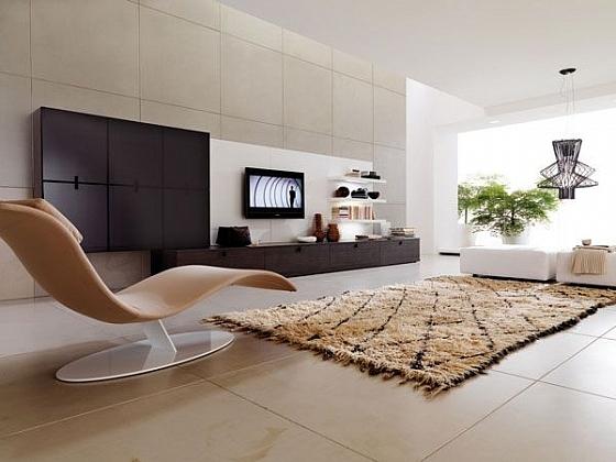 Woonkamer met design fauteuil en karpet « Interieur Wensen